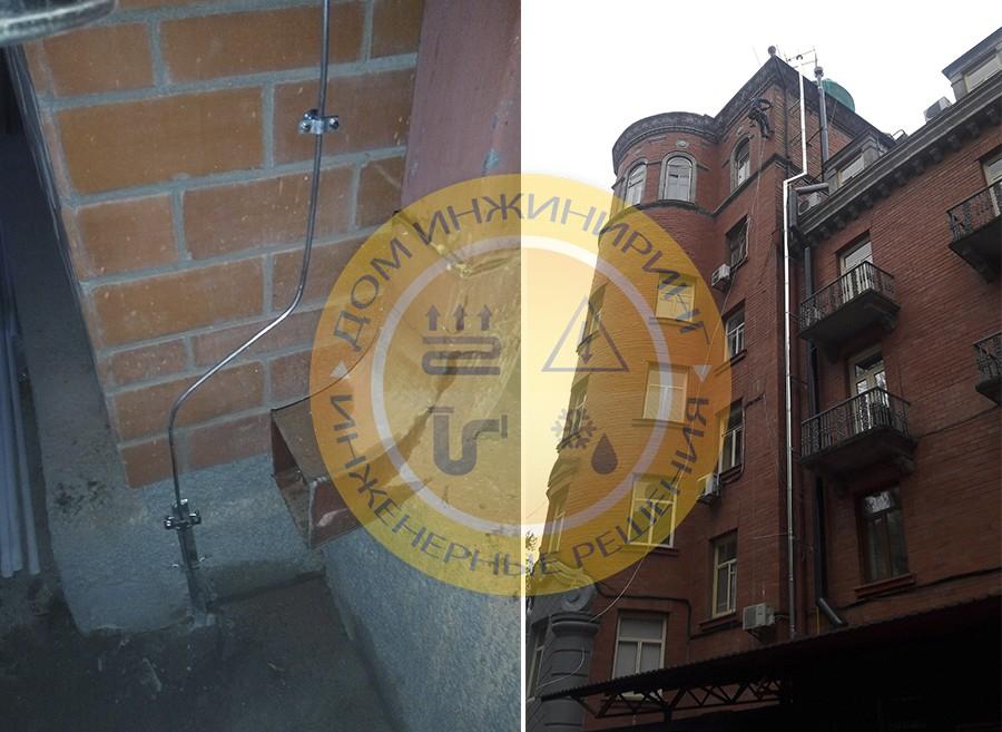 Монтаж системы пассивной молниезащиты дома на ул. Мечникова г. Киев (Фото 2).